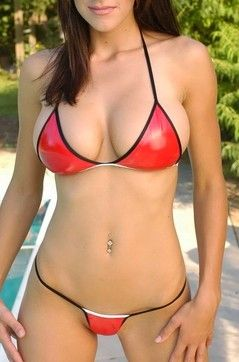 Brunette In Red Bikini